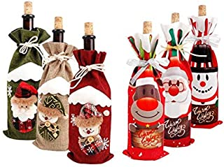6PCS Christmas decorations for Home Santa Claus Wine Bottle Cover Snowman Stocking Gift Holders