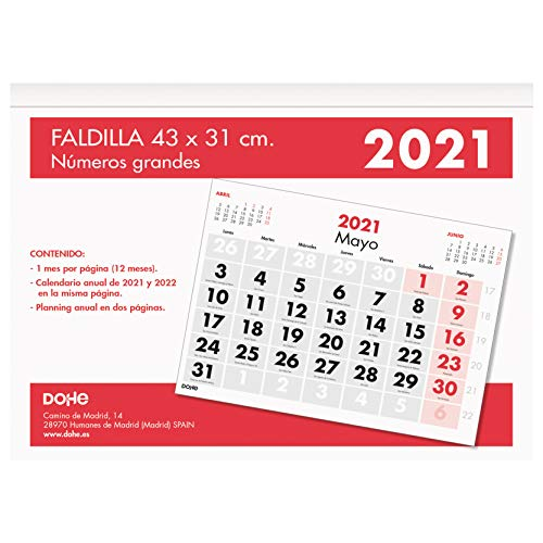 Dohe - Calendario Anual - Calendario de Pared - Tamaño 43 x 31 cm - Con Números Grandes - 32 Páginas