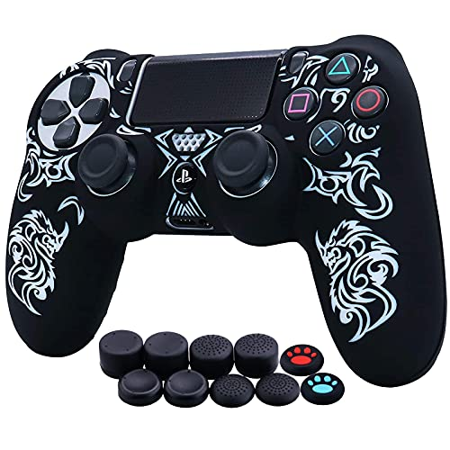 HLRAO Carcasa Mando ps4 ,Silicona con dragón Grabado con láser Protector Funda para Playstation 4 /Slim/Pro Mando x1 +10 × Grips para Pulgares.