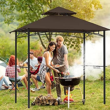 COOSHADE 8 x 5  Grill Gazebo Double Tiered Outdoor BBQ Gazebo Canopy with LED Light  Brown