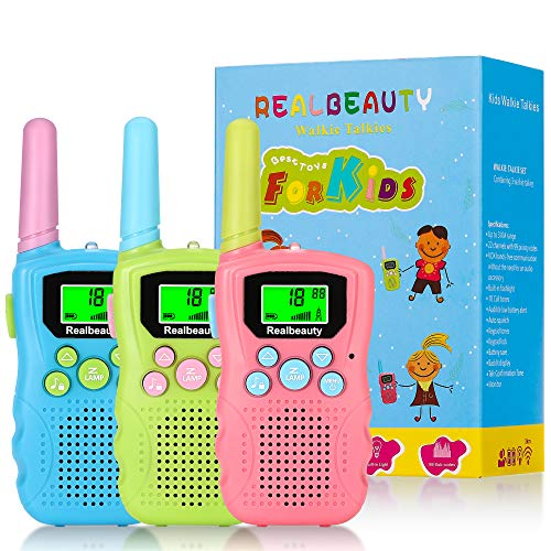 Realbeauty Colourful Walkie Talkies for Kids 3 Pack 22 Channels 2 Way Radio,3 KMs Long Range with Backlit LCD Flashlight,Best Gifts for girls and boys communication,Outside Adventure (Pink&Green&Blue)