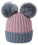 4sold Miki Donne Winter Cappello Invernale Beanie Lavorato a Maglia in Lana con Doppio Pom Pom cap Ski Snowboard Bobble (Rouse Pink Grey)