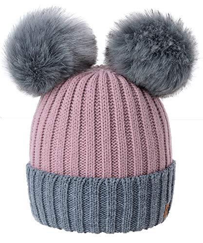 4sold Miki Farbe Damen Wintermütze Wolle Strickmütze Mit Doppelten Pom Pom Cap Ski Snowboard Bobble (Rouse Pink Grey)