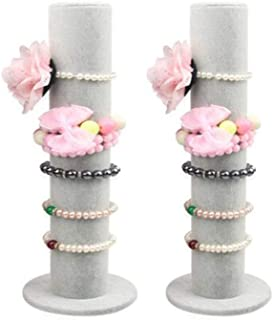 Glitterymall 2 Pack Gray Velvet Jewelry Bracelet Watch Display Stand Bangle T-Bar Hairband Rack Holder Organizer Tower