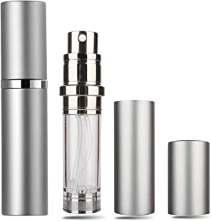Perfume Atomizer - Refillable Perfume Bottles Empty, Atomizer Spray Bottle for Man and Woman, Leak Proof and TSA Approved Perfume Travel Bottle with 5ml Pocket Size (Silver)