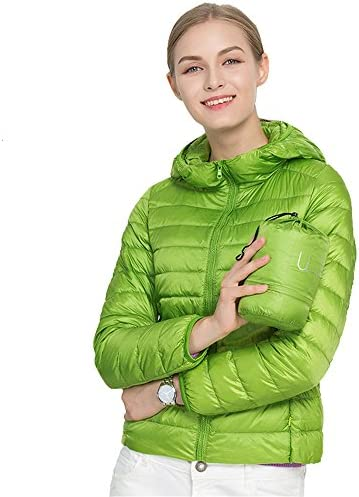 Jackcsale Women s Hooded Packable Ultra Light Down Jacket Coat Puffer Bright Green product image