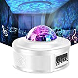Star Projector Night Light Projector with LED Galaxy Ocean Wave Projector Bluetooth Music Speaker for Kid Adult Bedroom,Game Rooms,Party,Home Theatre,Night Light Ambiance-White