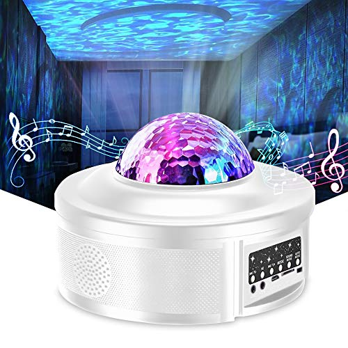 Star Projector Night Light Projector with LED Galaxy Ocean Wave Projector Bluetooth Music Speaker for Kid Adult Bedroom,Game Rooms,Party,Home Theatre,Night Light Ambiance-White. Buy it now for 29.99