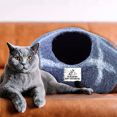 Cat Cave Bed Meow House Felted Bunny Hiding Shed Natural Eco Organic Wool Kitten Hideout Cocoon Pod Nest by Himalayan Bazaar