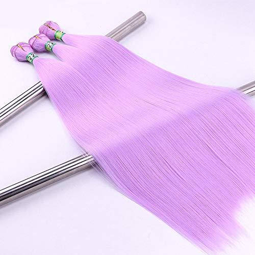 Souple 100g / Bundle 3 Bundles Lumière Pourpre Droit Synthétique Droite Armure de Cheveux Faisceaux Haute Température Extension De Cheveux De Fibre fashion (Color : Light purple, Size : 22inch)