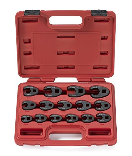 """NEIKO 03324A 3/8"""" and 1/2"""" Drive Crowfoot Flare Nut Wrench Set   15 Piece   Metric 8 to 24 mm Sizes   Cr-Mo Steel"""