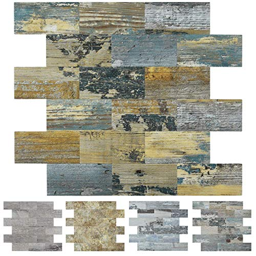 Art3d Peel and Stick Distressed Rustic Wood Panel 5-Pack of 13.5x11.4inches, for Kitchen Backsplash, Bathroom Decoration, Fireplace and Stair Riser Decal, Made of PVC Composite Laminate