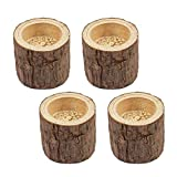 AUEAR, 4 Pack Natural Pine Wood Tree Branch Wooden Handmade Candlesticks Tea Light Candle Holder for Rustic Wedding Party Birthday Holiday