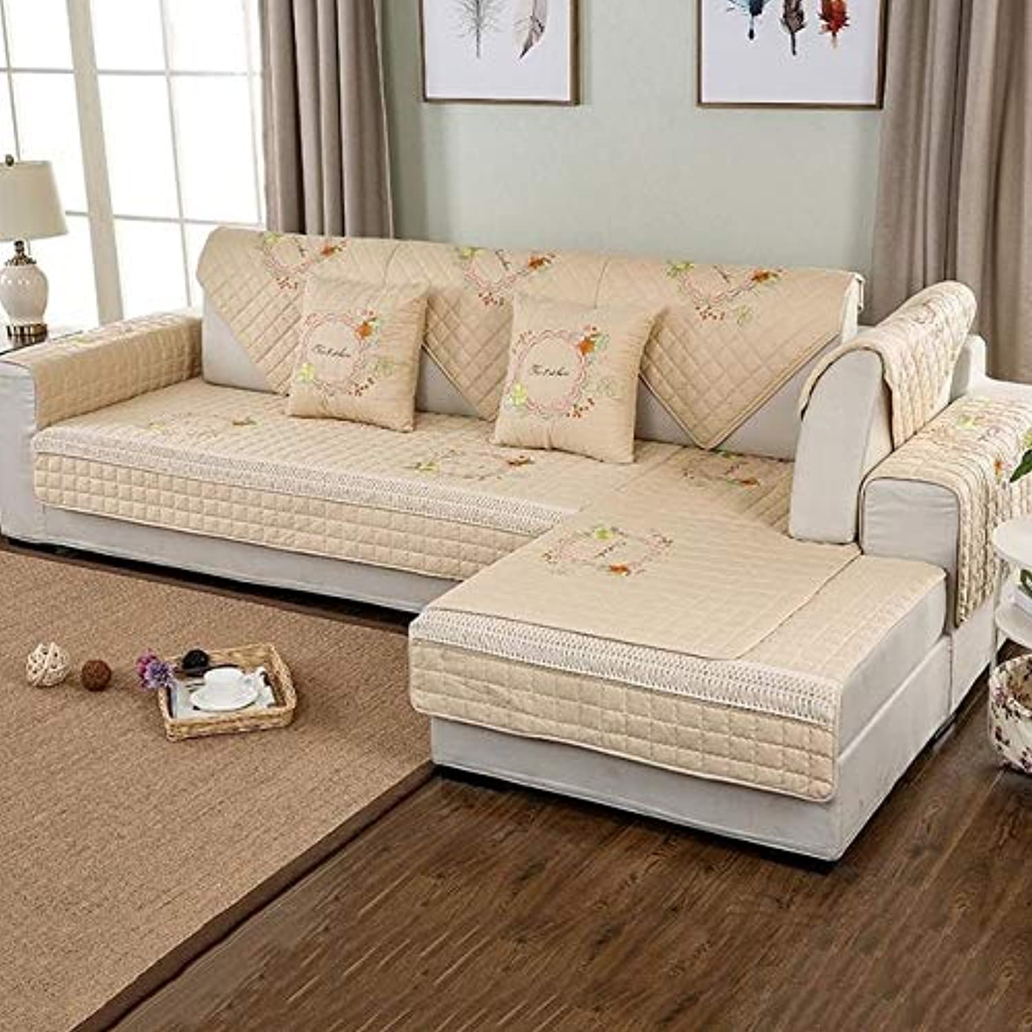 Farmerly 1-Piece Embroidered Slip Sofa Non-Slip Cotton Quilted Corner Sectional Sofa Couch Cover Lig Room Sofa Decoration  Brown 03, 90x90cm 1 Piece