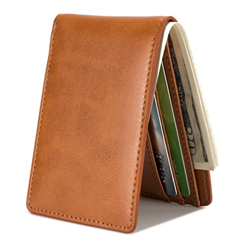 Mens Slim Front Pocket Wallet ID Window Card Case with RFID Blocking - Brown