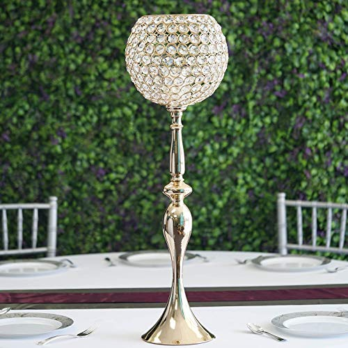 """Tableclothsfactory 30"""" Gold Acrylic Crystal Goblet Candle Holder Flower Ball Centerpiece for Wedding Events Decoration"""