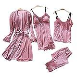 Damen-Pyjama-Set, 4-teilig, Herbst und Winter, sexy, weich, bequem, goldfarbener Samt, einfarbig, Strumpfband Rock für Erwachsene