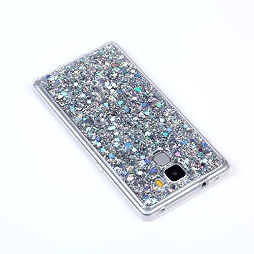 Kompatibel mit Huawei Honor 7 Hülle,Glänzend Bling Glitzer Diamant Muster TPU Silikon Handy Hülle Tasche Silikon Case Durchsichtig Handyhülle Etui Case Cover Schutzhülle für Huawei Honor 7,Silber - 5