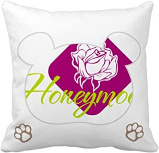 OFFbb-USA Rose Love Sweet Moon Bear - Funda de almohada cuadrada