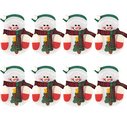 FEPITO 8 unids Bolsos Cubiertos de Navidad Muñeco de Nieve En Forma de Navidad Cuchillo Tenedor de Navidad Vajilla...