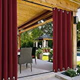 """ChadMade Windproof Outdoor Curtain Both Top and Bottom Aluminum Grommet Red 52"""" W x 84"""" L, Waterproof Patio Cabana Porch Gazebo Panel Drapery (1 Panel)"""