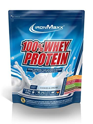 IronMaxx 100% Whey Protein – Eiweißshake-Pulver mit 100% Whey Konzentrat – Proteinpulver Cookies und Cream Geschmack – 1 x 2,35 kg Beutel