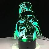 Decoración única del hogar que cambia de color Iluminación LED Sasuke Lámpara de mesa 3D Animación visual Decoración de escritorio USB Lámpara de color atmosférico de Halloween