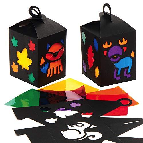 Baker Ross AX292Herbst Laternen Bastelsets für Kinder - 4er Pack, Sankt Martin Laternen Bastelset für Kinder zum Basteln mit Buntglaseffekt