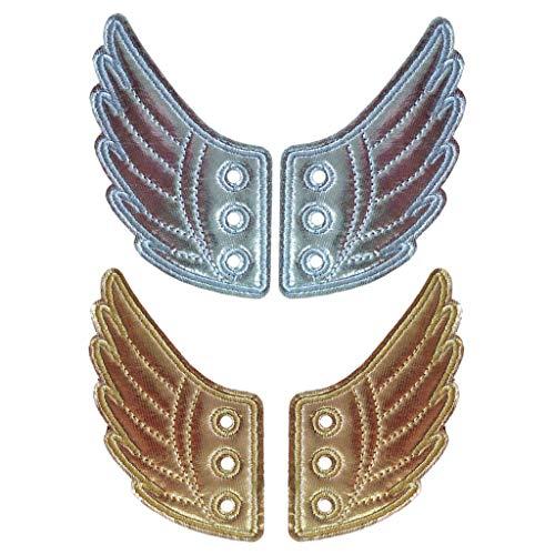 #N/A 2 Paare Mode Punk Schuhflügel, Engelsflügel Flügel für Schuhe Kinderschuhe Sneakers, Gold Silber Farben