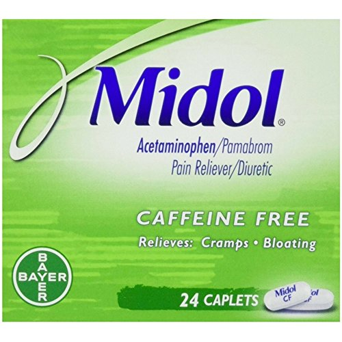 Midol Caffeine Free Menstrual Pain Relief Caplets with Acetaminophen for Menstrual Symptom Relief - 24 Count