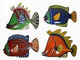 WorldBazzar Set 4 Large Beautiful Unique Fish Metal Hanging Wall Art