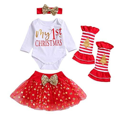 VICGREY 4 PCS Natale Costume Bambino Neonato Ragazza Pagliaccetto di Stampa Lettere+Gonna+Fascia + Leg Set per Vestito Pigiami da Regalo di Natale per La Famiglia