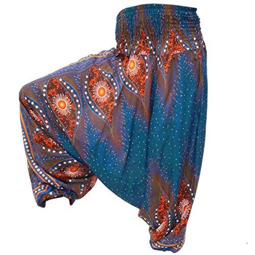 PANASIAM Aladin Pants Unisex-Modell Peacock \'V\' I 100{44d3c6c35051a03f7413e1b8510183b6d5857750badffb2baba8f9c2fd4dfefd} natürliche Viskose - angenehm weich & leicht I hochwertiger Gummibund - für dauerhaft bequemen Sitz I Haremshose