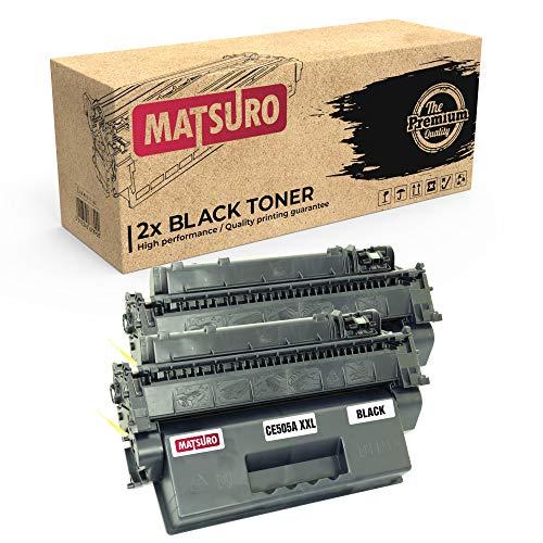 Matsuro Original | Compatible Cartucho de Toner Reemplazo para HP CE505A 05A XXL (2 Negro)