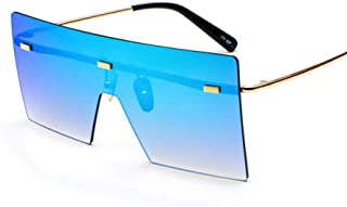 Fashion Vintage Oversized Rimless Glasses Mirror Eyewear Shades Women's Square Sunglasses Retro (Color : Blue)