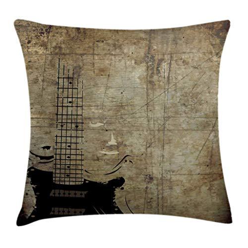 Funda de cojín para Almohada con diseño de Guitarra, patrón de Instrumento Descolorido con Fondo de inspiración Vintage con diseño Manchado, Funda de Almohada Decorativa Cuadrada, 45x45cm, marrón neg