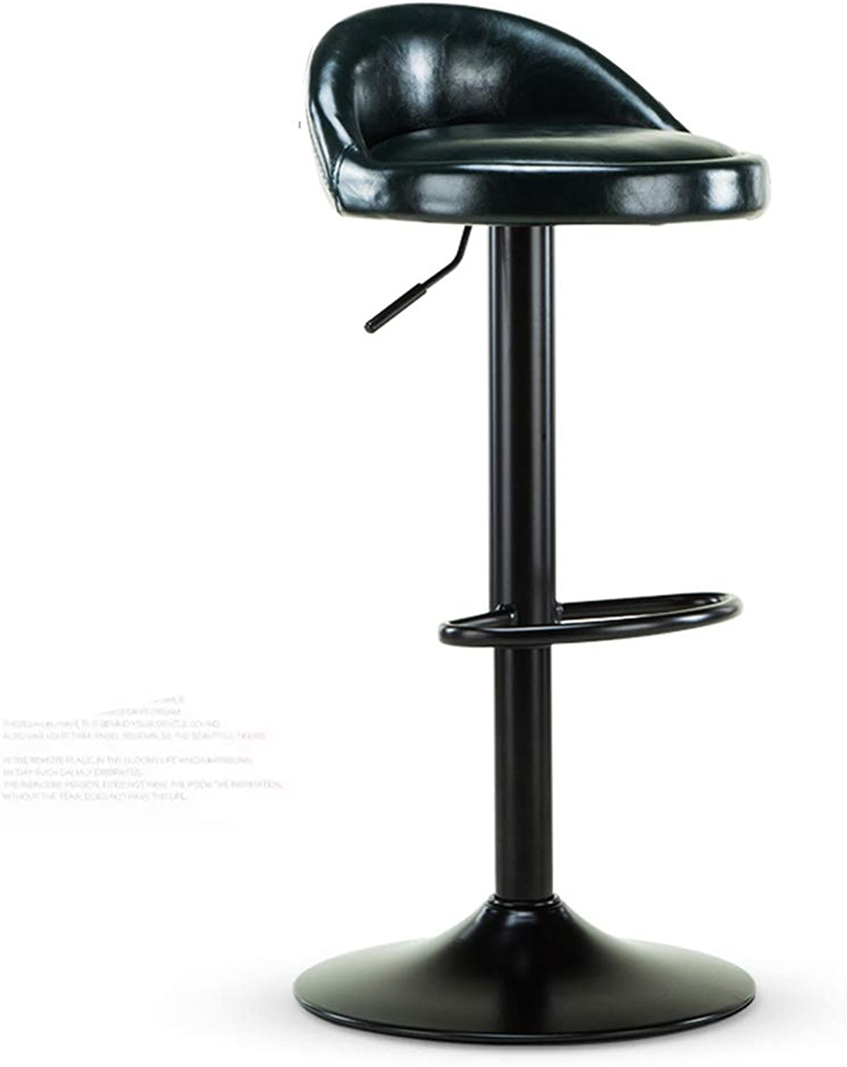 Barstools - Bar Stool Retro Dining Chair Height Adjustable Padded Back Rest Cushioned Chair Leather 0506A (color   Black)