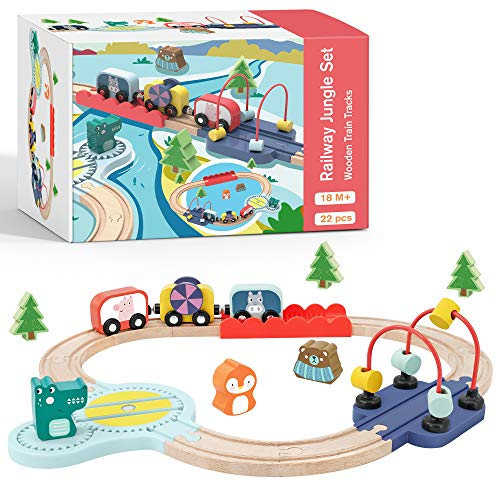 Wooden Train Set for Toddler with Bead Maze & Toy Train & Wooden Tracks - Learning Toys, Educational Toys for 18 Month 2 3 4-Year-Old