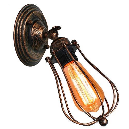 Vintage Lámpara de Pared Retro Industrial Aplique Ajustable Rustica Iluminación de Pared Interior para Dormitorio Pasillo Sala de estar Loft Cocina Entrada (Óxido)