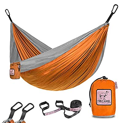 FRECAMEL OUTFITTERS Portable Camping Hammock with Tree Straps - Two Persons Double Parachute Hammocks for Outdoor Hiking Travel Backpacking - Easy to Setup, Orange & Grey