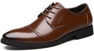 [Flova] ビジネスシューズ メンズ 革靴 レースアップ ストレートチップ 内羽根 黒 冠婚葬祭 通勤 就活 ブラウン/ブラック24-27cm