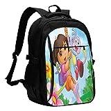 BGDFN Dora The Explorer 3D Impresión con mochila USB, mochila escolar, bolsa de viaje, bolsa de montañismo