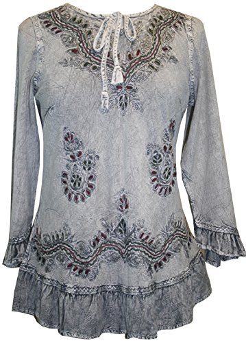 Agan Traders 147 B Gypsy Medieval Ruffle Tunic Top Blouse (XL/1X, Silver Gray C)