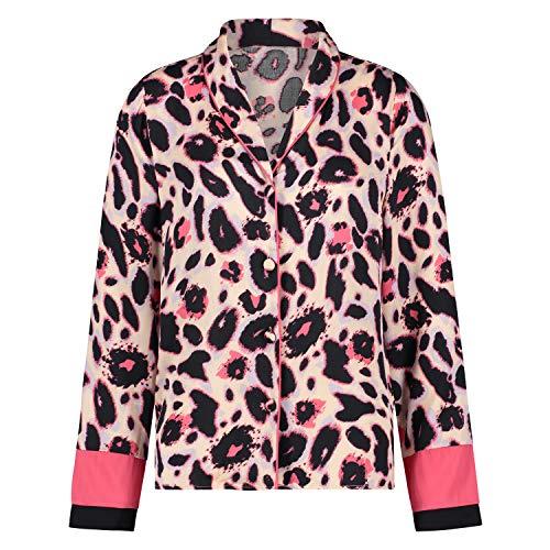 HUNKEMÖLLER Damen Langarm-Pyjama-Jacke Duckie mit Leopardenwebmuster Rose XS