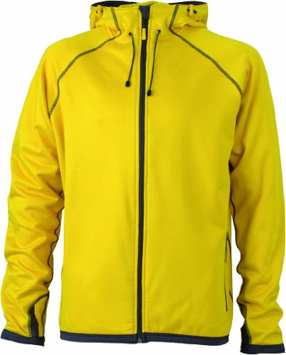 James & Nicholson Herren Jacke Fleecejacke Men's Hooded gelb (yellow/carbon) X-Large