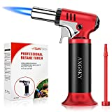 DLYM Butane Torch Lighters, kitchen torch Refillable Adjustable Flame Kitchen Torch with Safety Lock & Adjustable Flame for BBQ, Creme Brulee, Baking, DIY Soldering (Butane Gas not Included) (Red)