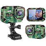 Cámara de Acción Sumergible 4K 60FPS/20MP Ultra HD Impermeable Subacuática Cámara Deportiva WiFi con Zoom 4x EIS 170° Gran Angular Videocámara DV con Pantalla y kit de(Size:Sin tarjeta SD,Color:Verde)