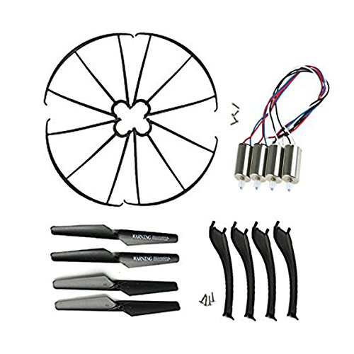 Frog Studio Home Coolplay Syma X5SC X5SW Full Set Replacement Props Propellers & Motors & Landing Gears & Blade Frames Spare Parts for RC Mini Quadcopter (Black)