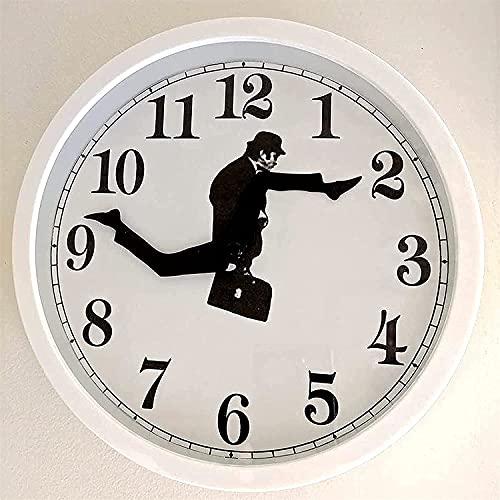 Ministry of Silly Walks, Reloj de Pared Inspirado en la Comedia británica, Creativo Divertido Reloj de Pared, silencioso Reloj de Pared para Dormitorio, Cocina, Sala de Estar (Blanco)