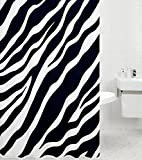 Sanilo Duschvorhang Zebra 180 x 200 cm, hochwertige Qualität, 100prozent Polyester, wasserdicht, Anti-Schimmel-Effekt, inkl. 12 Duschvorhangringe
